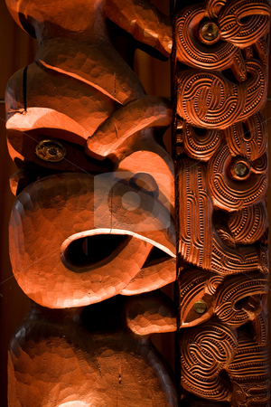 Maori carving stock photo, A dramatically lit Maori carving by Angus Benham