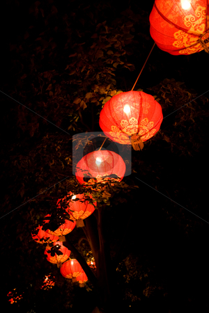 Chinese New Year stock photo, Bright red Chinese new year decorations in a tree by Angus Benham