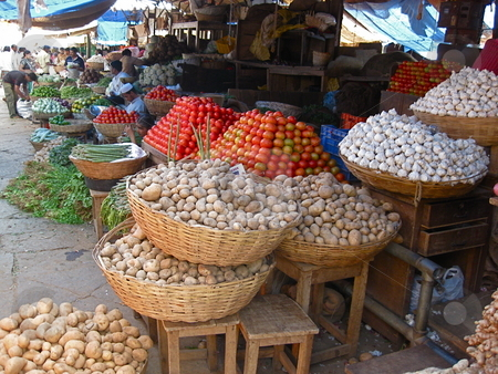 Market Fresh Vegatables stock photo, A vegetable stall in India by Colin Elves