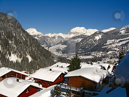 Ski Village stock photo, A view looking down a Ski village in a Valley in the Alps by Colin Elves