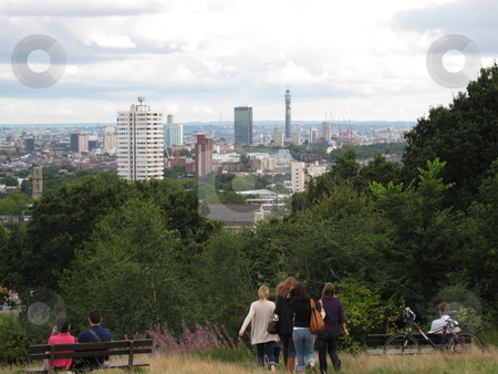 London From Hampstead Heath stock photo, A view of London taken from Hampstead Heath, Kite Hill by Colin Elves
