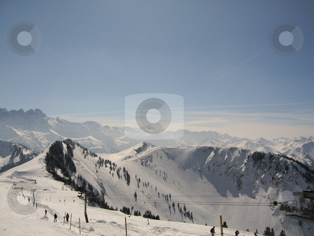 Ski Drag Lift  stock photo, A view of the French Alps featuring a ski Drag lift. by Colin Elves