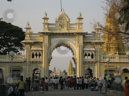 Mysore Palace Gate stock photo, The Gate at Mysore Palace by Colin Elves