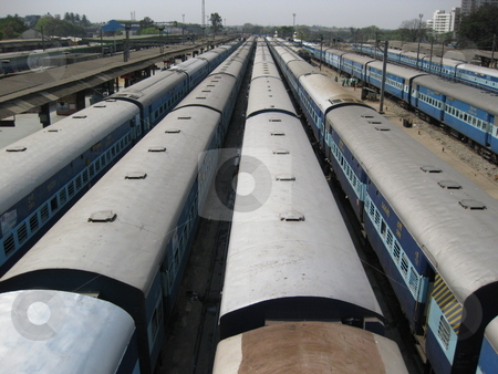 Sustainable transport stock photo, Some of the nearly endless trains at Bangalore station, India by Colin Elves