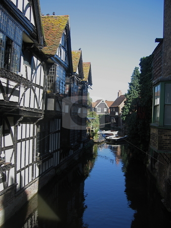 Canterbury Canal stock photo, A view looking down the river in canterbury by Colin Elves
