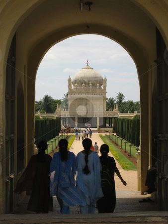 India: Old and New stock photo, Four young girls heading towards Tipu Sultan's tomb, india by Colin Elves