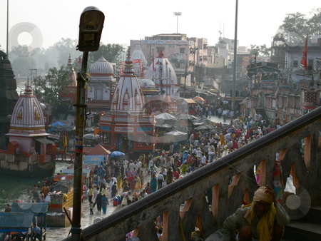 Haridwar Ghats stock photo, A view down on to the Temples of the Haridwar Ghats by Colin Elves