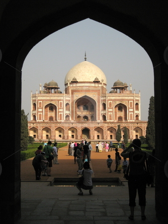 Humyan's Tomb stock photo, A view of Humyan's Tomb, New Delhi, India - Framed by and Arch by Colin Elves