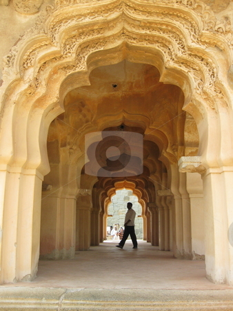 Lotus Mahal Arch stock photo, An arched corridor in the Lotus Mahal, Hampi. by Colin Elves