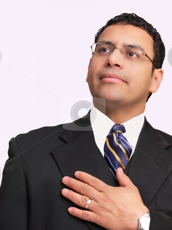 Businessman  stock photo, A businessman is believing in himself. On white background. by Horst Petzold
