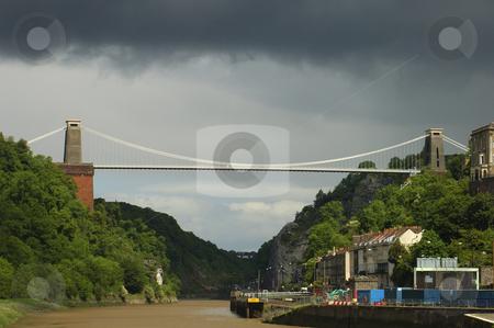 Clifton Suspension Bridge stock photo, Clifton Suspension Bridge, Bristol, UK, under stormy skies. by Alistair Scott