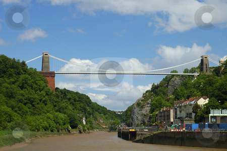 Clifton Suspension Bridge stock photo, Clifton Suspension Bridge, Bristol, UK, under summer skies. by Alistair Scott