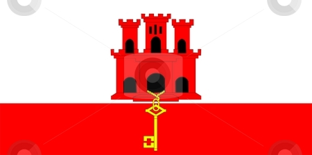 Flag Of Gibraltar stock photo, 2D illustration of the flag of Gibraltar by Tudor Antonel adrian