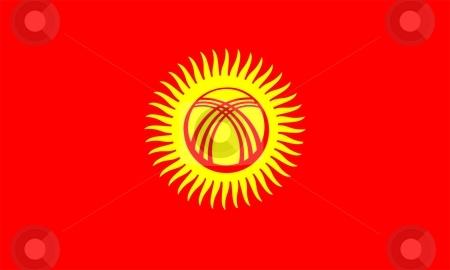 Flag Of Kyrgyzstan stock photo, 2D illustration of the flag of Kyrgyzstan by Tudor Antonel adrian