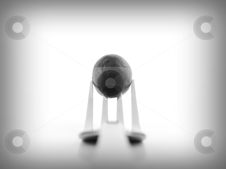 Olive on Fork stock photo, Olive on a fork with a white background by John Teeter