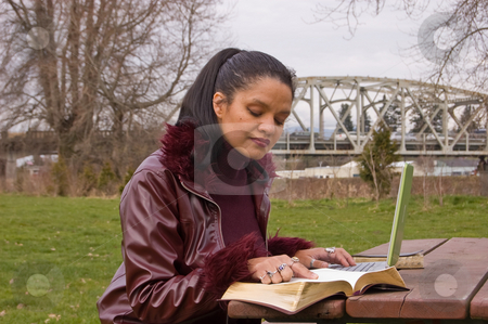 Young Professional Woman Studying at Park with Laptop Computer stock photo, Young professional woman is studying in the park with a laptop computer and book.  Model is in her late 20's and is multi ethnic of Jamaican, Irish & Native American. by Valerie Garner