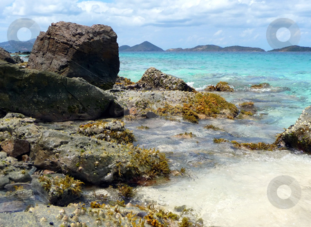 Rocky and sandy tropical beach with coral outcroppings stock photo, Rocky sandy beach with coral outcroppings on tropical island by Jill Reid