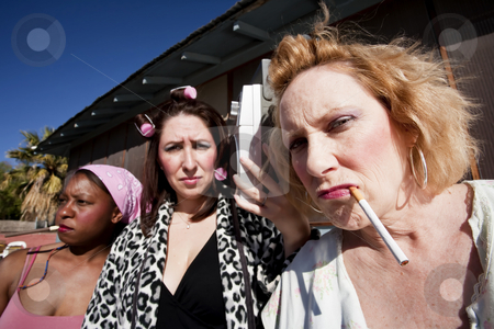 Three Trashy Women stock photo, Portrait of three trashy women outdoors by Scott Griessel