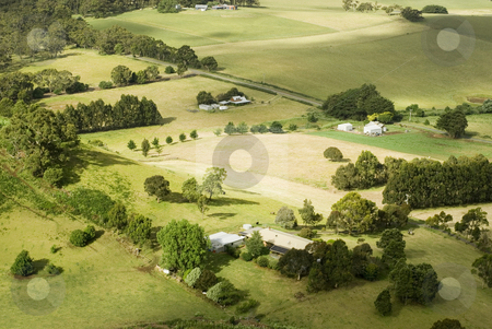 Small Rural Farms stock photo, View from above of a patchwork of fields and small farmsteads, Victoria, Australia by Stephen Gibson