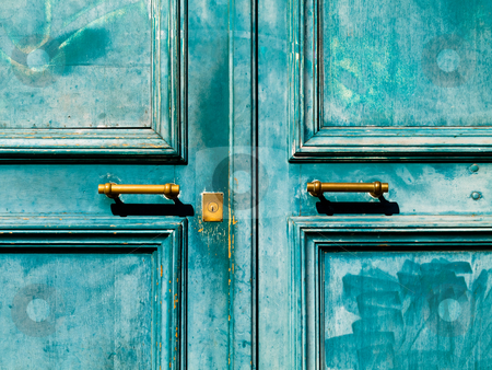 Turquoise  door stock photo, Turquoise vintage door with metal handle and keyhole by Laurent Dambies