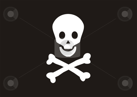 Pirates Flag stock photo, 2D illustration of pirates black and white flag by Tudor Antonel adrian
