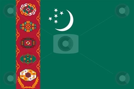 Flag Of Turkmenistan  stock photo, 2D illustration of the flag of Turkmenistan by Tudor Antonel adrian