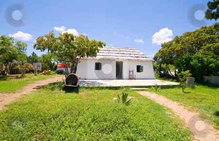 Old restored slave house stock photo, Very old restored slave on curacao on a sunny day by Karin Claus