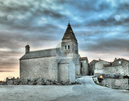 Adriatic Village stock photo, Lubenice. Croatian village on the rocky Adriatic coast,island Cres.HDR technique. by Sinisa Botas