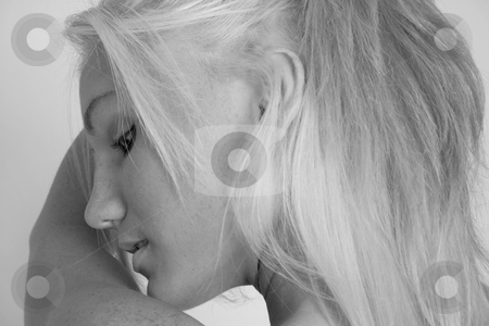 Mystery #2 - Landscape stock photo, Blond Looks away in B&W by Gregg Cerenzio