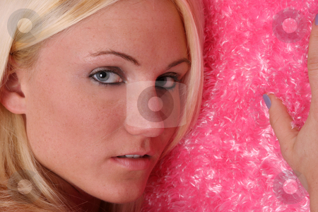 Into the Colors #2 stock photo, Beauty leans on pink fuzzy by Gregg Cerenzio