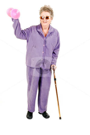 Senior woman with cane. stock photo, Senior woman with gray hair and an lilac suit needs the help of a cane to get around, but still makes some exercise. On white background. by Horst Petzold