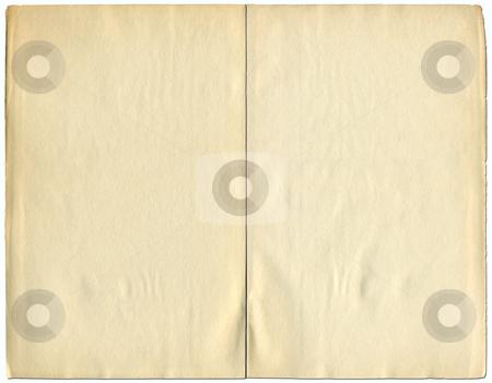 Two blank pages from a 1932 vintage book isolated over white. stock photo, Two blank pages from a 1932 vintage book isolated over white. by Stephen Rees