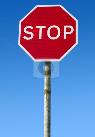 Old British red stop road sign. stock photo, Old British red stop road sign. by Stephen Rees