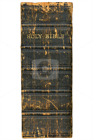 1868 Victorian bible spine isolated over a white background. stock photo, 1868 Victorian bible spine isolated over a white background. by Stephen Rees