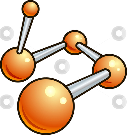 Shiny molecule illustration icon stock vector clipart, A shiny molecule illustration icon made up of glossy orange balls and metallic bars by Christos Georghiou