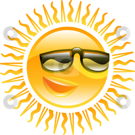 Smiling sun with sunglasses illustration stock vector clipart, A smiling sun with sunglasses icon illustration by Christos Georghiou