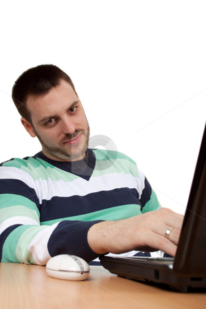 Chilling on a Job stock photo, Man chilling on a job in front of his notebook by Milan Ljubisavljevic