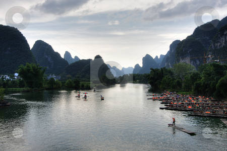 Mountain landscape stock photo, Li river karst mountain landscape in Yangshuo, China by Christopher Meder
