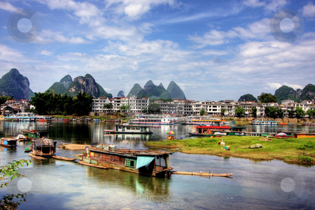 Yangshuo stock photo, Li river karst mountain landscape in Yangshuo, China by Christopher Meder