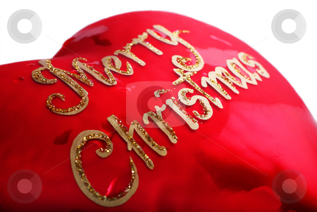 Merry Christmas Heart stock photo, Merry Christmas in red heart shape ornament by Christopher Meder