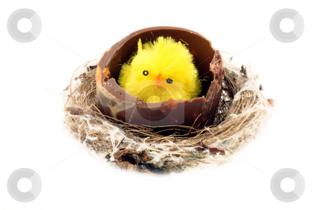 Decorative easter chickens stock photo, Easter background with decorative chickens in a nest by Christopher Meder