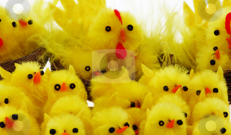 Easter chickens stock photo, Easter background with decorative chickens in a nest by Christopher Meder