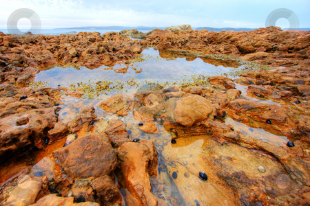 Rocks Pools stock photo, Rock pools against a cloudy sky in Eden, NSW by Christopher Meder