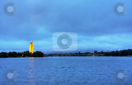 The National Carillion in Canberra stock photo, View of Lake Burley Griffin, in Canberra, capital of Australia by Christopher Meder