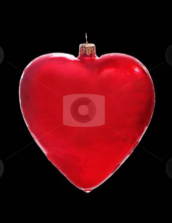 Heart shaped decoration stock photo, Glass red heart shaped Christmas decoration by Christopher Meder