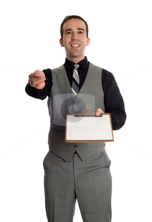 Businessman With Clipboard stock photo, A young businessman holding a clipboard with a blank sheet of white paper, isolated against a white background by Richard Nelson