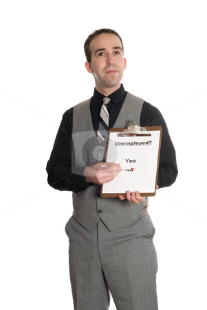 Unemployment stock photo, A young man taking a poll on whether or not he is unemployed, isolated against a white background by Richard Nelson