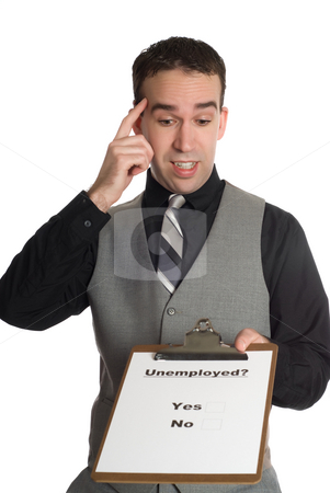 Unemployment Rate stock photo, A businessman taking a poll on how many people are unemployed, isolated against a white background by Richard Nelson