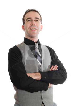 Isolated Businessman stock photo, An isolated businessman wearing a pair of glasses and a vest by Richard Nelson