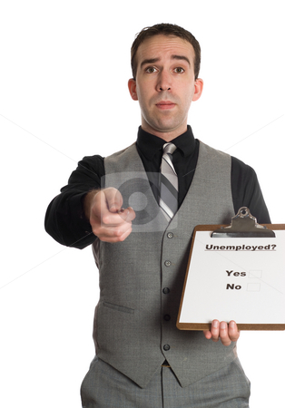 Unemployment Survey stock photo, A young businessman doing a survey on unemployment rates, isolated against a white background by Richard Nelson
